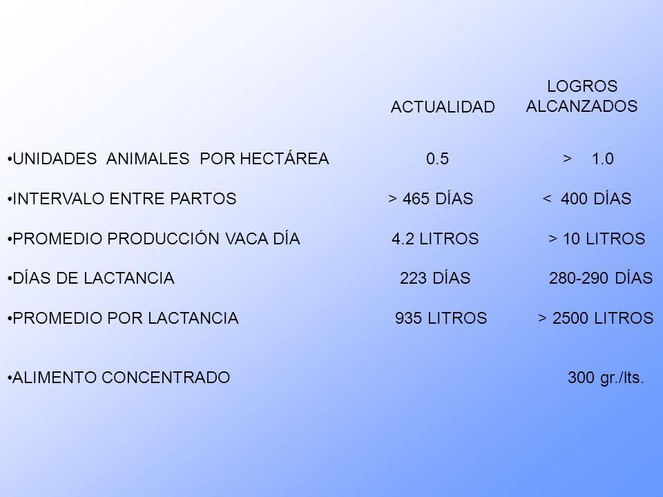 LOGROS ALCANZADOS UNIDADES ANIMALES POR HECTÁREA 0.5 > 1.0 INTERVALO ENTRE PARTOS > 465 DÍAS < 400 DÍAS PROMEDIO PRODUCCIÓN VACA DÍA 4.2 LITROS > 10 LITROS DÍAS DE LACTANCIA 223 DÍAS 280-290 DÍAS PROMEDIO POR LACTANCIA 935 LITROS > 2500 LITROS ALIMENTO CONCENTRADO 300 gr./lts.