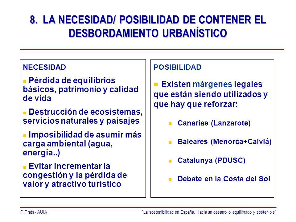 F. Prats - AUIALa sostenibilidad en España. Hacia un desarrollo equilibrado y sostenible 8.