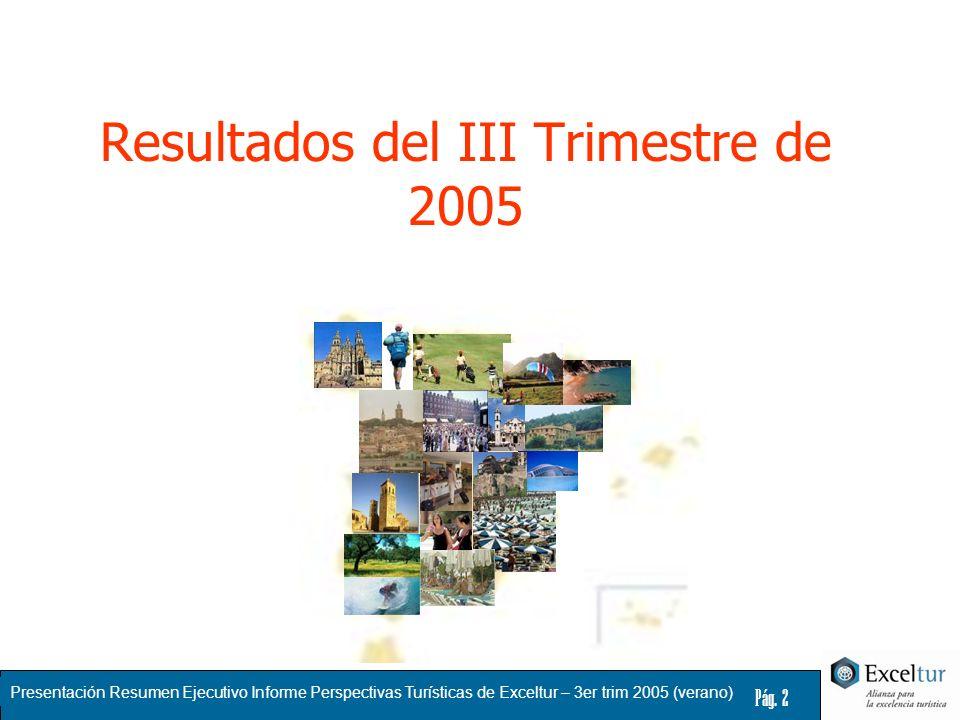 Presentación Resumen Ejecutivo Informe Perspectivas Turísticas de Exceltur – 3er trim 2005 (verano) Pág. 2 Resultados del III Trimestre de 2005