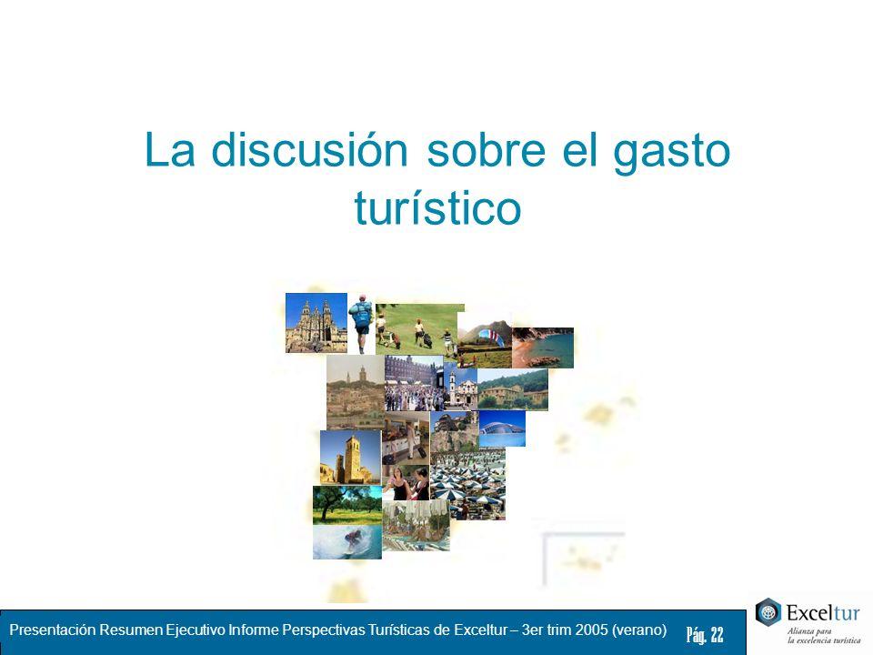 Presentación Resumen Ejecutivo Informe Perspectivas Turísticas de Exceltur – 3er trim 2005 (verano) Pág. 22 La discusión sobre el gasto turístico