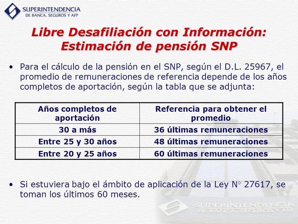 Libre Desafiliación con Información: Estimación de pensión SNP Para el cálculo de la pensión en el SNP, según el D.L. 25967, el promedio de remuneraci