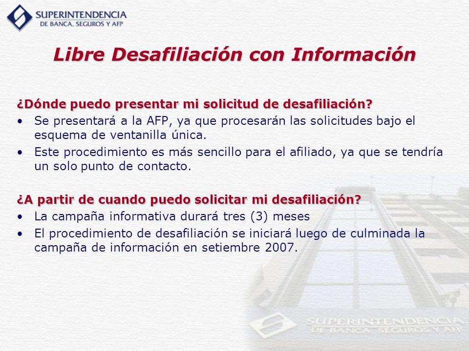 Libre Desafiliación con Información ¿Dónde puedo presentar mi solicitud de desafiliación? Se presentará a la AFP, ya que procesarán las solicitudes ba