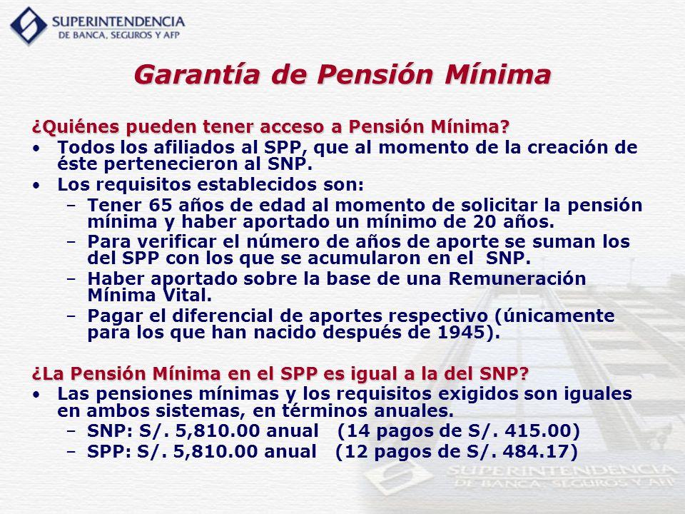 Garantía de Pensión Mínima ¿Quiénes pueden tener acceso a Pensión Mínima? Todos los afiliados al SPP, que al momento de la creación de éste pertenecie