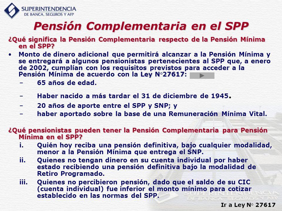 Pensión Complementaria en el SPP ¿Qué significa la Pensión Complementaria respecto de la Pensión Mínima en el SPP? Ley N°27617Monto de dinero adiciona