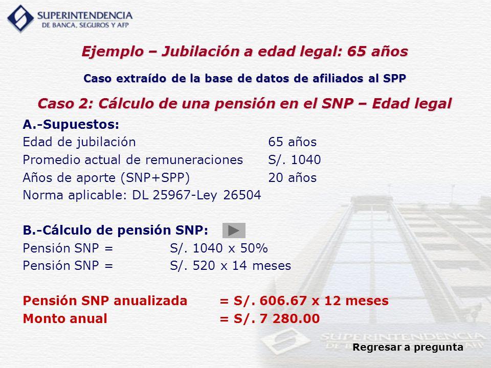 Ejemplo – Jubilación a edad legal: 65 años Caso extraído de la base de datos de afiliados al SPP Caso 2: Cálculo de una pensión en el SNP – Edad legal