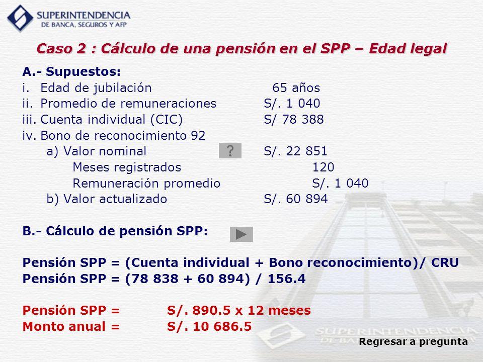 Caso 2 : Cálculo de una pensión en el SPP – Edad legal A.- Supuestos: i.Edad de jubilación 65 años ii.Promedio de remuneracionesS/. 1 040 iii.Cuenta i