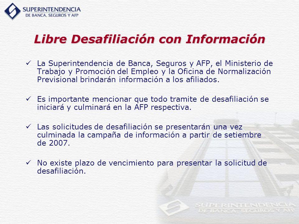 Libre Desafiliación con Información La Superintendencia de Banca, Seguros y AFP, el Ministerio de Trabajo y Promoción del Empleo y la Oficina de Norma