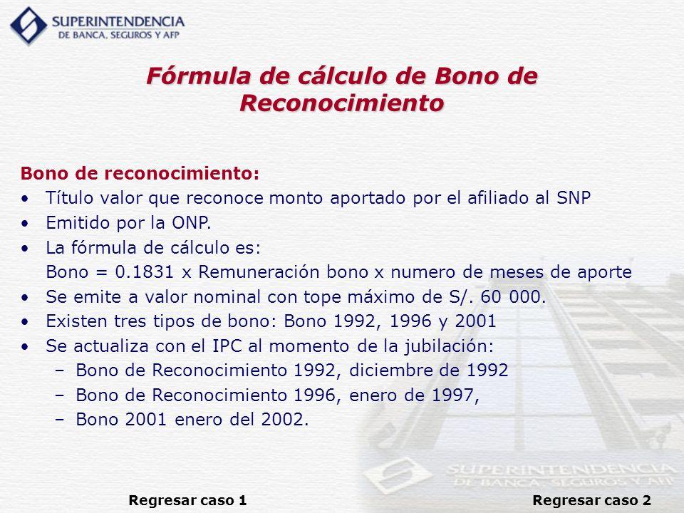 Fórmula de cálculo de Bono de Reconocimiento Bono de reconocimiento: Título valor que reconoce monto aportado por el afiliado al SNP Emitido por la ON