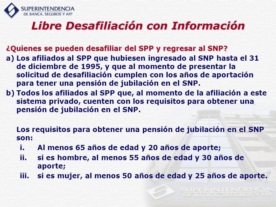 Libre Desafiliación con Información ¿Quienes se pueden desafiliar del SPP y regresar al SNP? a)Los afiliados al SPP que hubiesen ingresado al SNP hast