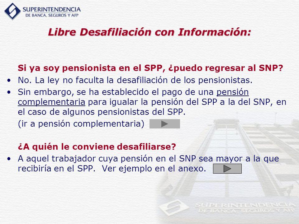 Libre Desafiliación con Información: Si ya soy pensionista en el SPP, ¿puedo regresar al SNP? No. La ley no faculta la desafiliación de los pensionist