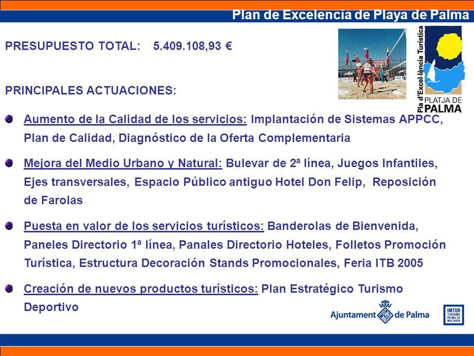 Plan de Excelencia de Playa de Palma PRESUPUESTO TOTAL: 5.409.108,93 PRINCIPALES ACTUACIONES: Aumento de la Calidad de los servicios: Implantación de