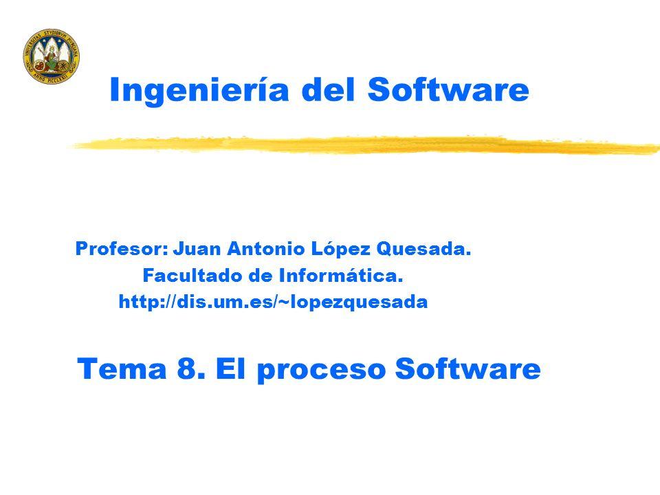 Profesor: Juan Antonio López QuesadaProcesos del ciclo de vida del software2 z El proceso software z Estándares en Ingeniería del Software y Utilidad de los estándares y Tipos de estándares z Estándares relacionados con el proceso software ySEIs CMM yDe procesos estándar del ciclo de vida xISO 9000 xEstándar IEEE 1074-1998 xEstándar IEEE/EIA (ISO/IEC) 12207 Ingeniería del Software