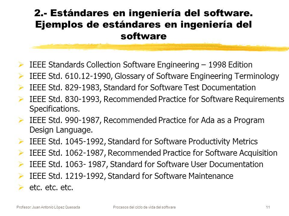 Profesor: Juan Antonio López QuesadaProcesos del ciclo de vida del software11 2.- Estándares en ingeniería del software. Ejemplos de estándares en ing