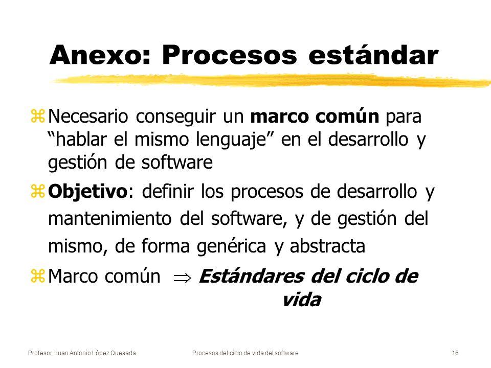 Profesor: Juan Antonio López QuesadaProcesos del ciclo de vida del software16 Anexo: Procesos estándar zNecesario conseguir un marco común para hablar
