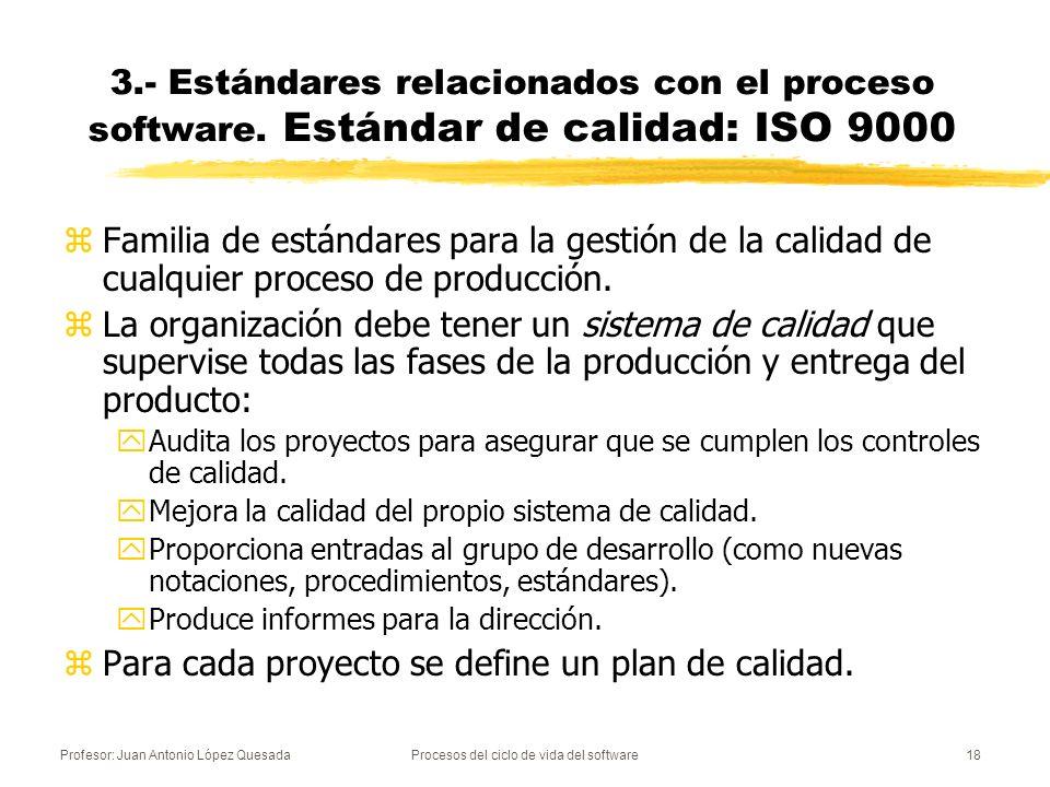 Profesor: Juan Antonio López QuesadaProcesos del ciclo de vida del software18 3.- Estándares relacionados con el proceso software. Estándar de calidad