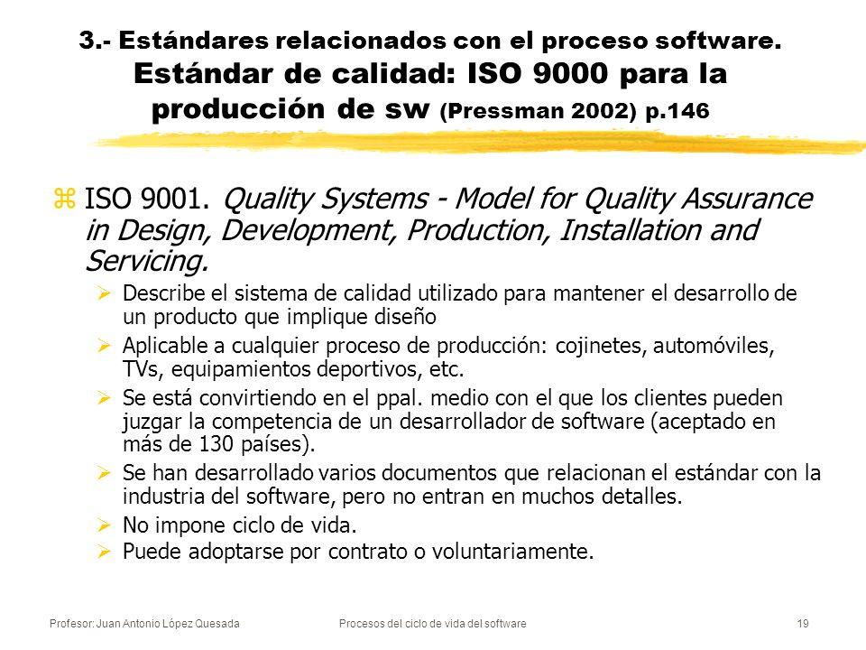Profesor: Juan Antonio López QuesadaProcesos del ciclo de vida del software19 3.- Estándares relacionados con el proceso software. Estándar de calidad
