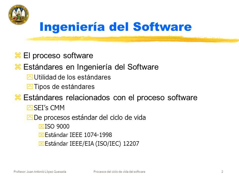 Profesor: Juan Antonio López QuesadaProcesos del ciclo de vida del software2 z El proceso software z Estándares en Ingeniería del Software y Utilidad
