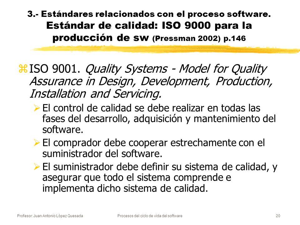 Profesor: Juan Antonio López QuesadaProcesos del ciclo de vida del software20 zISO 9001. Quality Systems - Model for Quality Assurance in Design, Deve