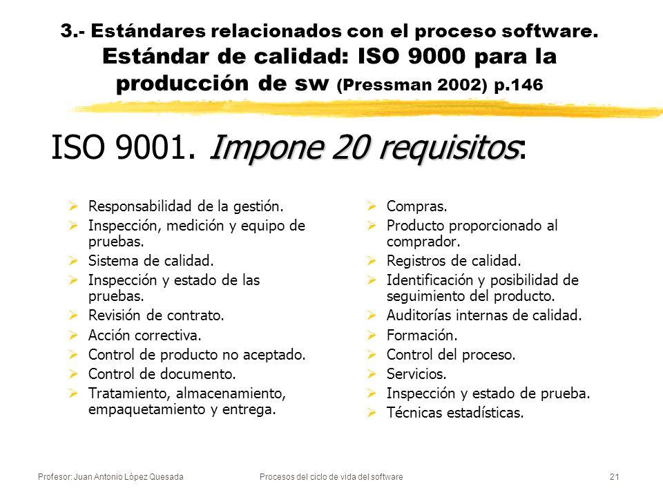 Profesor: Juan Antonio López QuesadaProcesos del ciclo de vida del software21 Responsabilidad de la gestión. Inspección, medición y equipo de pruebas.