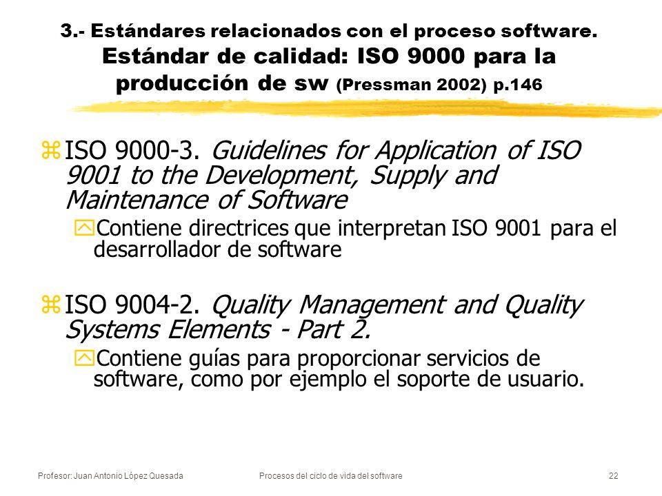 Profesor: Juan Antonio López QuesadaProcesos del ciclo de vida del software22 zISO 9000-3. Guidelines for Application of ISO 9001 to the Development,