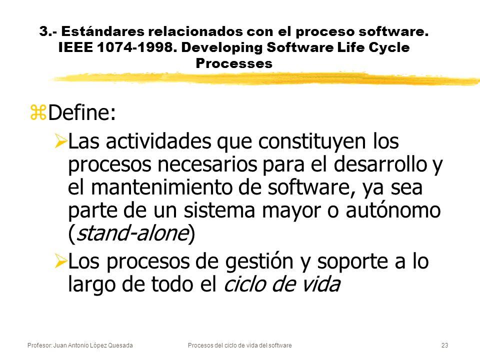 Profesor: Juan Antonio López QuesadaProcesos del ciclo de vida del software23 3.- Estándares relacionados con el proceso software. IEEE 1074-1998. Dev