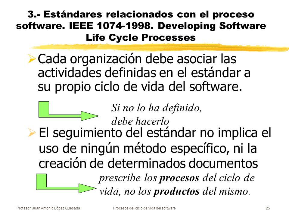 Profesor: Juan Antonio López QuesadaProcesos del ciclo de vida del software25 Cada organización debe asociar las actividades definidas en el estándar