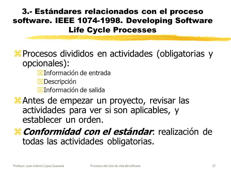 Profesor: Juan Antonio López QuesadaProcesos del ciclo de vida del software27 zProcesos divididos en actividades (obligatorias y opcionales): xInforma