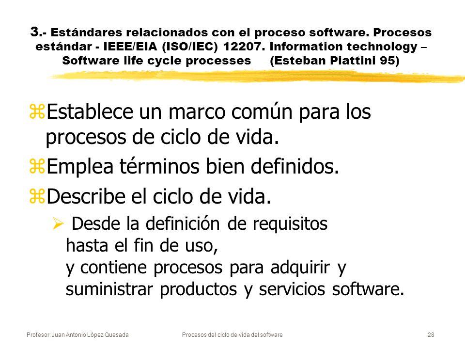 Profesor: Juan Antonio López QuesadaProcesos del ciclo de vida del software28 3.- Estándares relacionados con el proceso software. Procesos estándar -