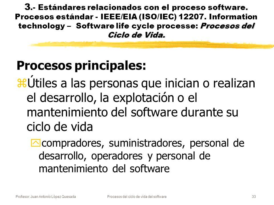 Profesor: Juan Antonio López QuesadaProcesos del ciclo de vida del software33 Procesos del Ciclo de Vida. 3.- Estándares relacionados con el proceso s