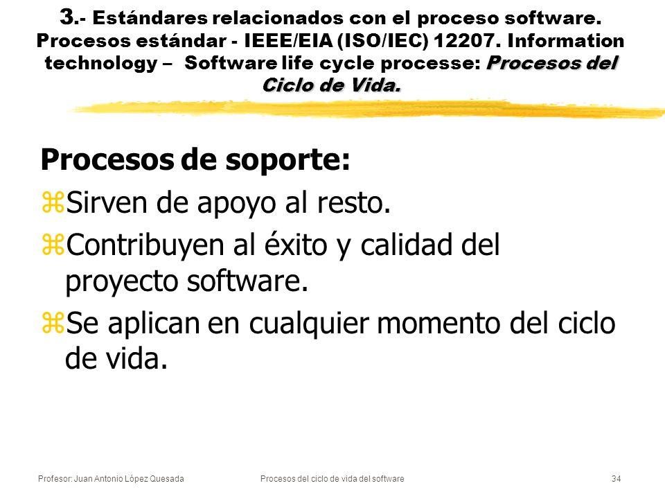 Profesor: Juan Antonio López QuesadaProcesos del ciclo de vida del software34 Procesos del Ciclo de Vida. 3.- Estándares relacionados con el proceso s