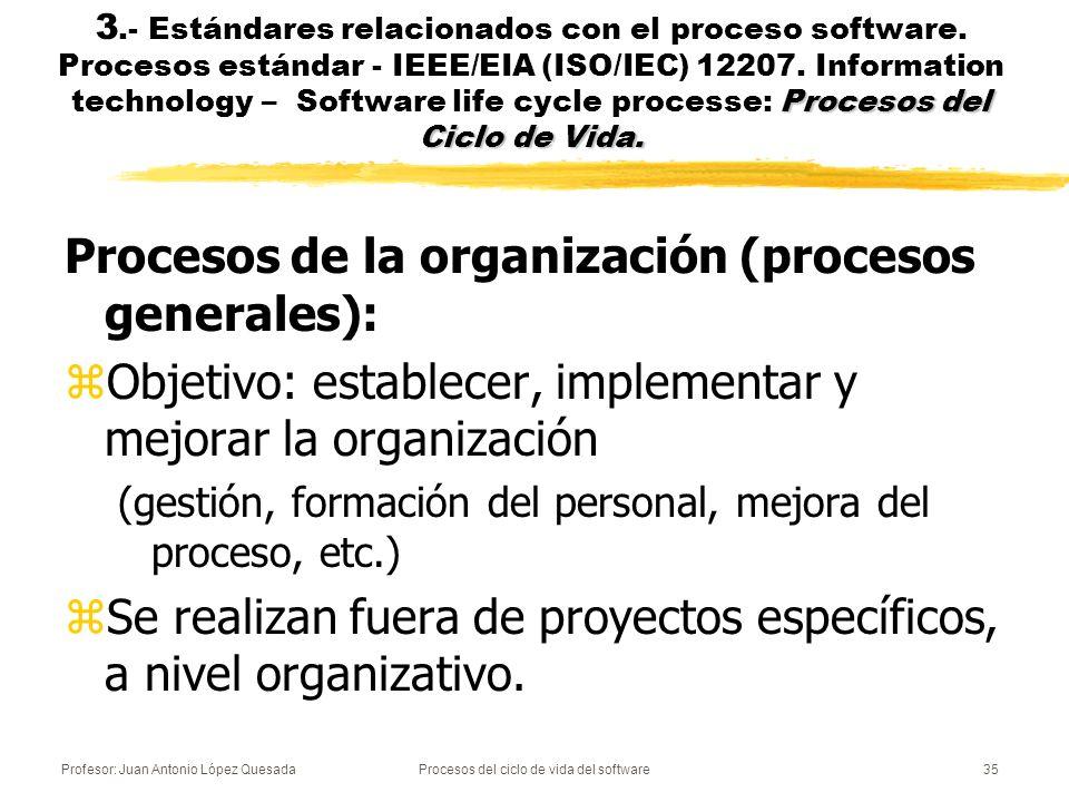 Profesor: Juan Antonio López QuesadaProcesos del ciclo de vida del software35 Procesos del Ciclo de Vida. 3.- Estándares relacionados con el proceso s
