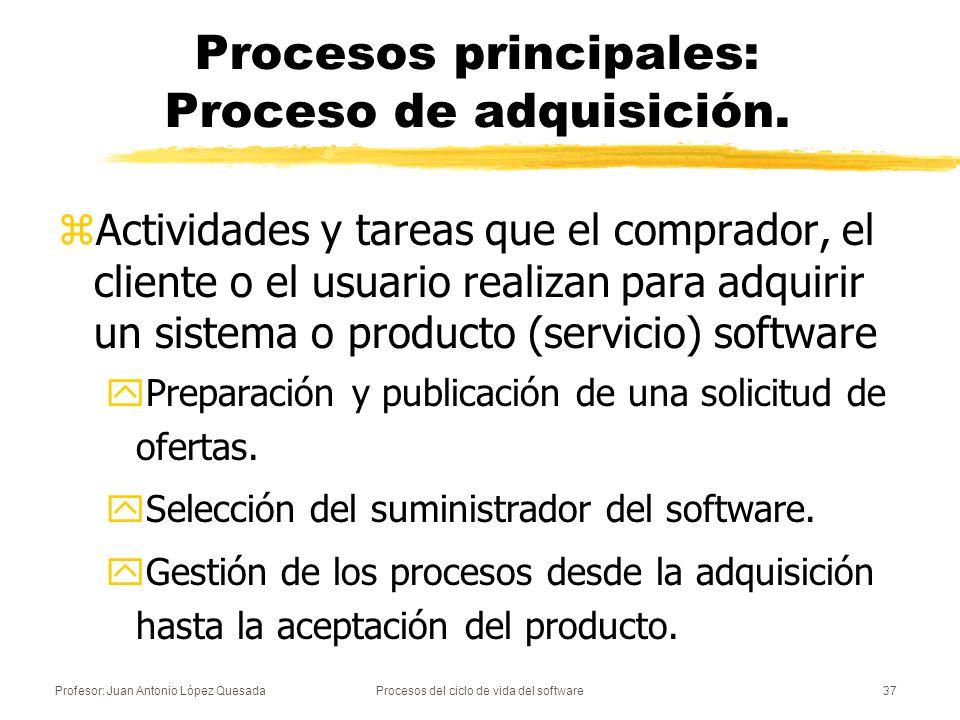 Profesor: Juan Antonio López QuesadaProcesos del ciclo de vida del software37 Procesos principales: Proceso de adquisición. zActividades y tareas que