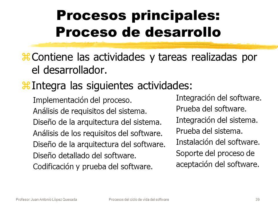 Profesor: Juan Antonio López QuesadaProcesos del ciclo de vida del software39 Procesos principales: Proceso de desarrollo zContiene las actividades y