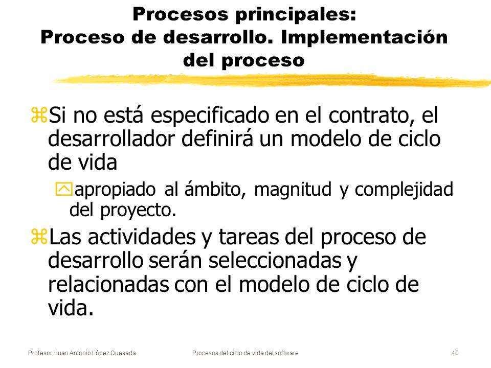 Profesor: Juan Antonio López QuesadaProcesos del ciclo de vida del software40 Procesos principales: Proceso de desarrollo. Implementación del proceso