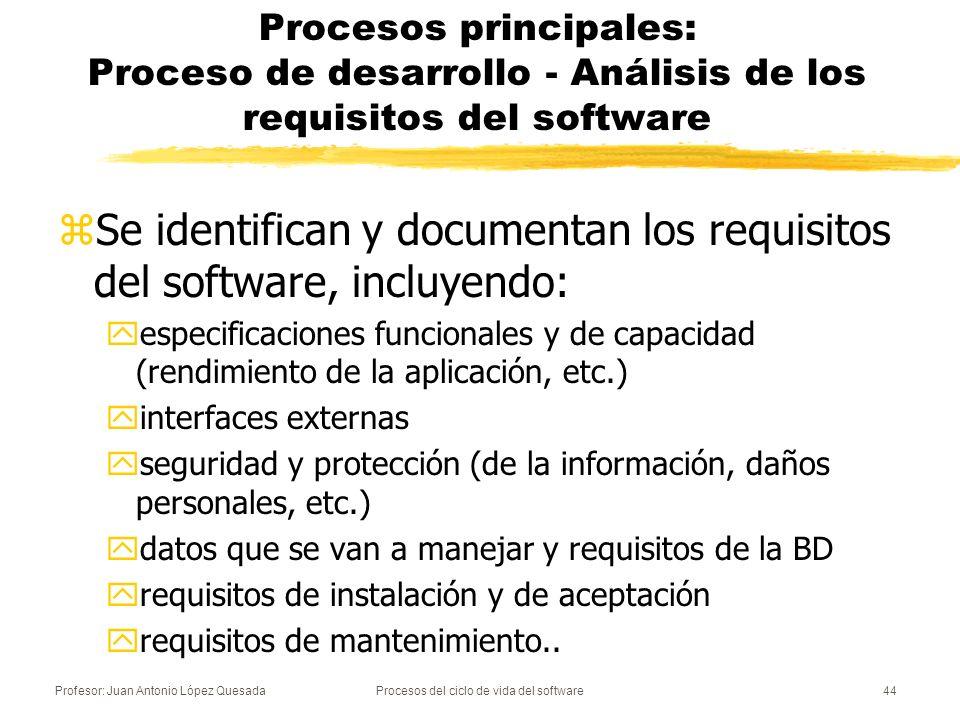 Profesor: Juan Antonio López QuesadaProcesos del ciclo de vida del software45 Procesos principales: Proceso de desarrollo - Análisis de los requisitos del software zVarios estándares definidos para esta fase: yIEEE 830- 1998.