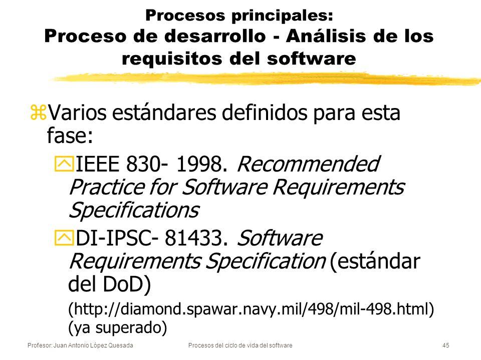 Profesor: Juan Antonio López QuesadaProcesos del ciclo de vida del software46 Procesos principales: Proceso de desarrollo - Diseño de la arquitectura del software zComponentes principales del software zVersión preliminar de los manuales de usuario zRequisitos de las pruebas zPlanificación de la integración del software