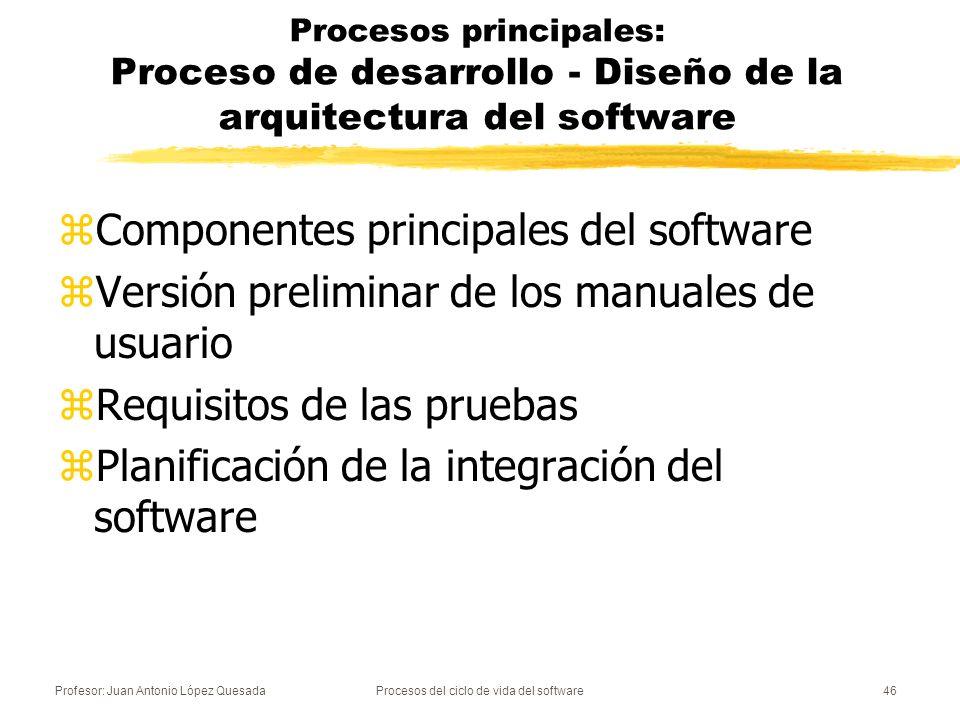 Profesor: Juan Antonio López QuesadaProcesos del ciclo de vida del software47 Procesos principales: Proceso de desarrollo - Diseño detallado del software zDiseño detallado de cada componente sw.