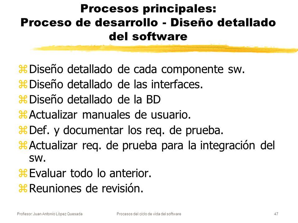 Profesor: Juan Antonio López QuesadaProcesos del ciclo de vida del software48 Procesos principales: Proceso de desarrollo - Codificación y prueba del software zSe desarrollan los componentes software y las bases de datos zSe prueban los componentes (prueba de unidad) zSe actualizan los manuales de usuario