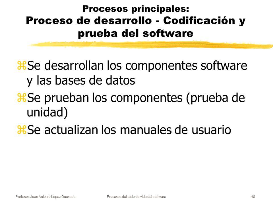 Profesor: Juan Antonio López QuesadaProcesos del ciclo de vida del software48 Procesos principales: Proceso de desarrollo - Codificación y prueba del