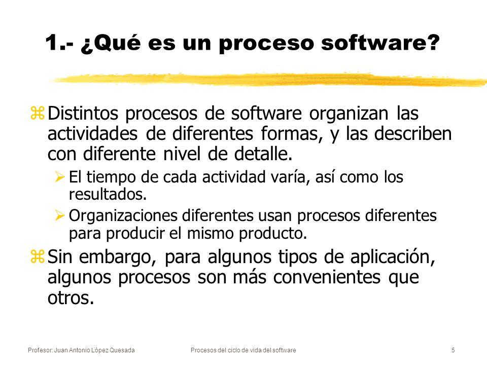 Profesor: Juan Antonio López QuesadaProcesos del ciclo de vida del software5 zDistintos procesos de software organizan las actividades de diferentes f