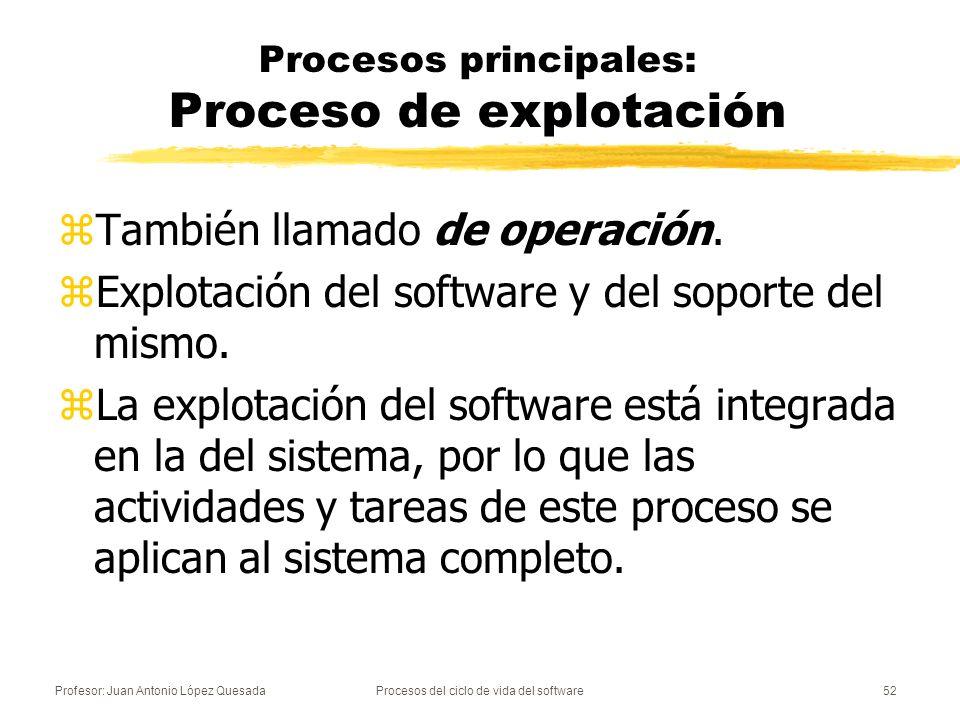 Profesor: Juan Antonio López QuesadaProcesos del ciclo de vida del software52 Procesos principales: Proceso de explotación zTambién llamado de operaci