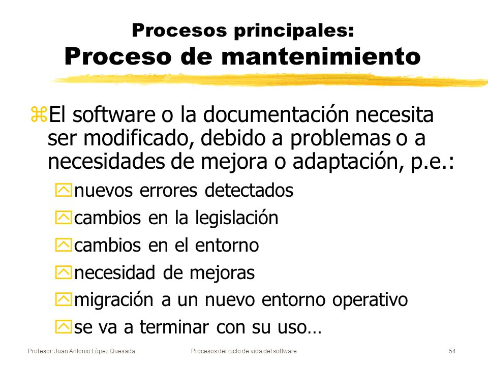 Profesor: Juan Antonio López QuesadaProcesos del ciclo de vida del software55 Procesos principales: Proceso de mantenimiento Modificar el software existente manteniendo su consistencia zComprende las siguientes actividades: yImplementación del proceso de mantenimiento.