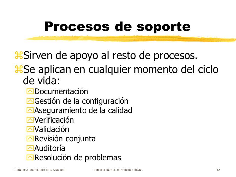 Profesor: Juan Antonio López QuesadaProcesos del ciclo de vida del software56 Procesos de soporte zSirven de apoyo al resto de procesos. zSe aplican e