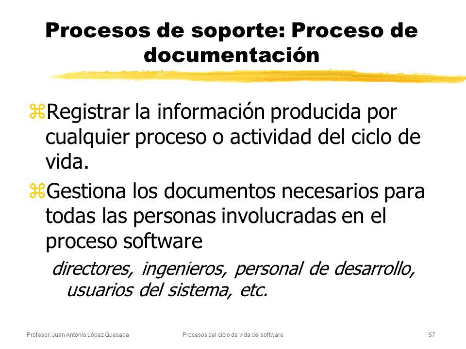 Profesor: Juan Antonio López QuesadaProcesos del ciclo de vida del software57 Procesos de soporte: Proceso de documentación zRegistrar la información