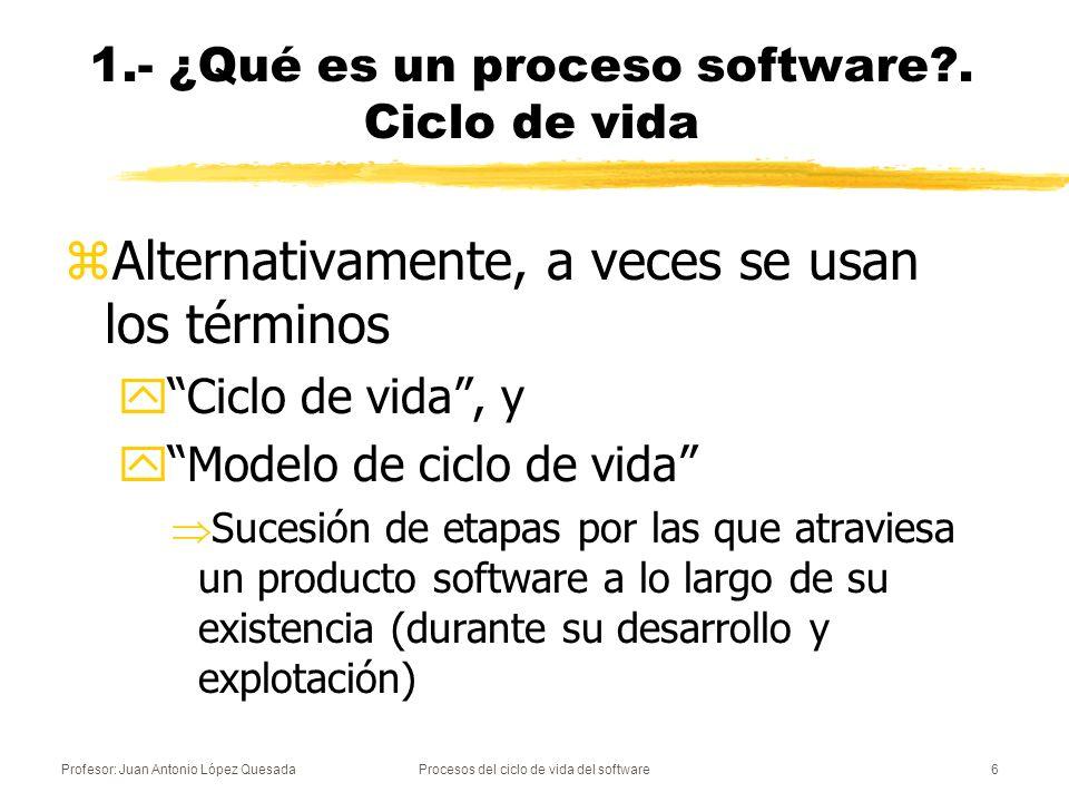 Profesor: Juan Antonio López QuesadaProcesos del ciclo de vida del software6 1.- ¿Qué es un proceso software?. Ciclo de vida zAlternativamente, a vece