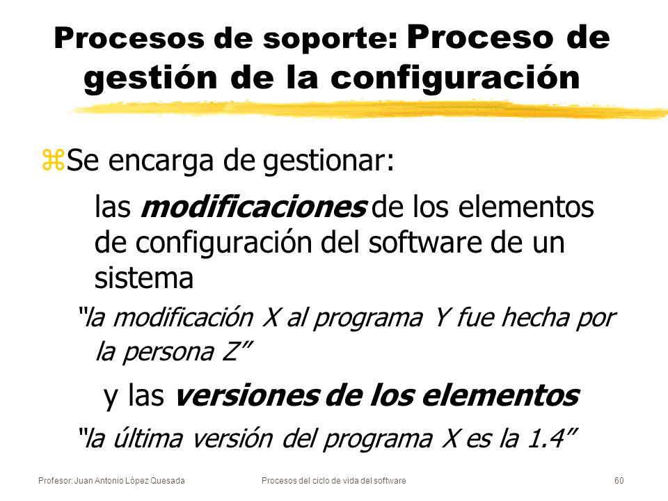Profesor: Juan Antonio López QuesadaProcesos del ciclo de vida del software60 Procesos de soporte: Proceso de gestión de la configuración zSe encarga