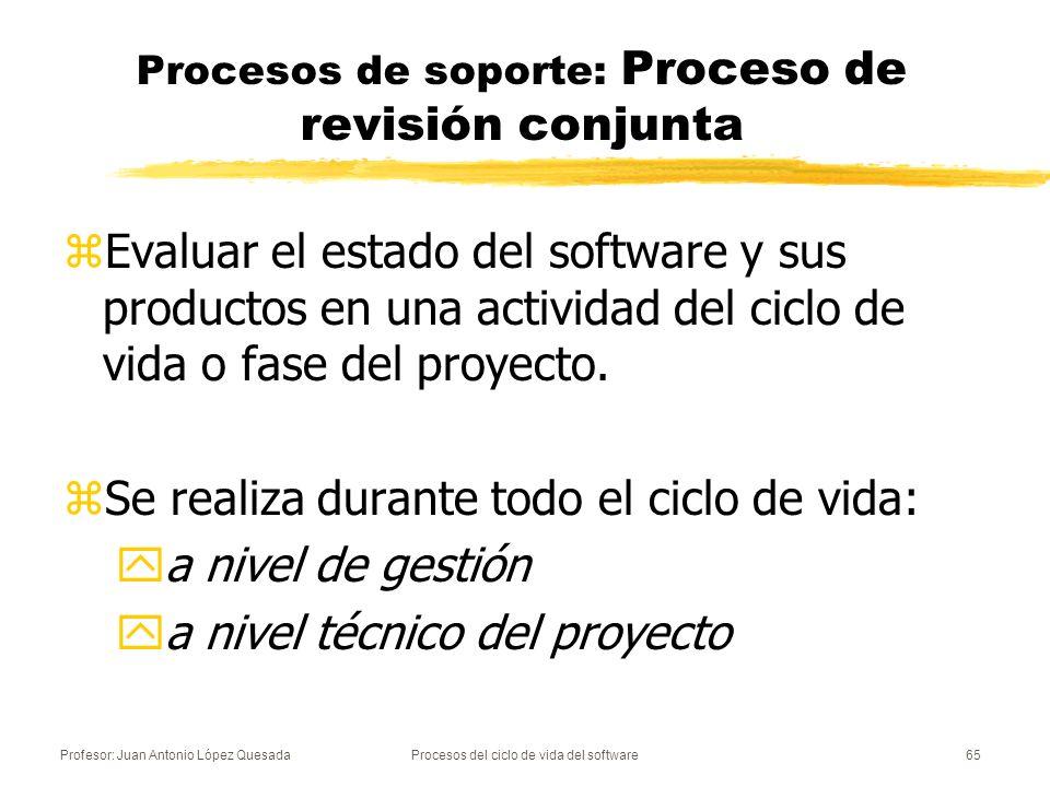 Profesor: Juan Antonio López QuesadaProcesos del ciclo de vida del software66 Procesos de soporte: Proceso de auditoría zPermite determinar si se cumplen los requisitos, los planes y el contrato.