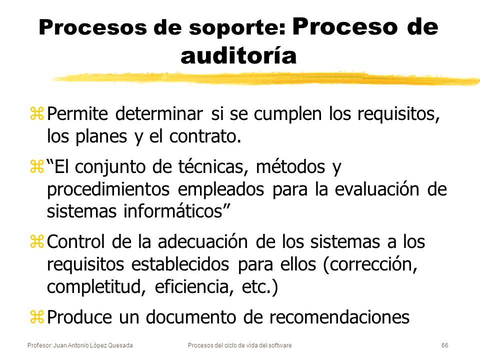 Profesor: Juan Antonio López QuesadaProcesos del ciclo de vida del software67 Procesos de soporte: Proceso de auditoría zEl objetivo de una auditoría es realizar una evaluación exhaustiva y producir un documento de recomendaciones para enmendar o mejorar los aspectos débiles que se detecten zTipos de auditoría informática: yDe explotación yDe sistemas yDe comunicaciones yDe desarrollo de proyectos yDe seguridad y...