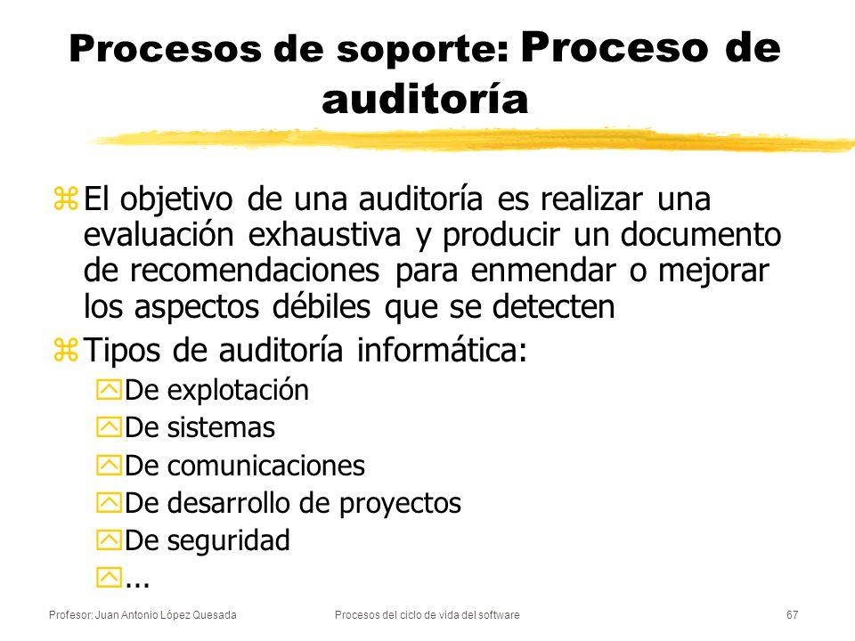 Profesor: Juan Antonio López QuesadaProcesos del ciclo de vida del software67 Procesos de soporte: Proceso de auditoría zEl objetivo de una auditoría