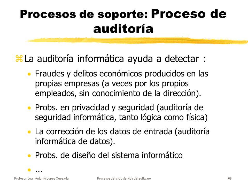 Profesor: Juan Antonio López QuesadaProcesos del ciclo de vida del software69 Procesos de soporte: Proceso de resolución de problemas zAnalizar y eliminar los problemas (diferencias con el contrato o los requisitos) descubiertos durante el desarrollo, el mantenimiento, u otro proceso.